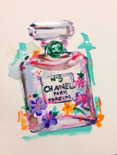 ORIGINAL Chanel Perfume No.5 Painting with Neon Flowers - Chanel Art, Fashion Art, Fashion Watercolor, Fashion Illustration on Etsy, $35.00