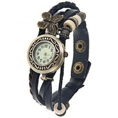 $5.02 Quartz Watch with Arabic Numbers Hour Marks Leather Band for Women - Black