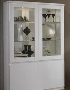 Argentier vaisselier design laqué blanc LAURA