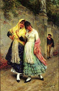 Эжен де Блаас «Флирт». 1889 г. Масло на панели. 32x20 см.