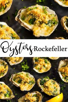 oysters rockefeller baked / oysters _ oysters rockefeller _ oysters rockefeller recipe _ oysters recipes _ oysters on the grill _ oysters on the half shell _ oysters rockefeller baked _ oystershell benjamin moore Baked Oyster Recipes, Baked Chicken Recipes, Fish Recipes, Seafood Recipes, Appetizer Recipes, Cooking Recipes, Appetizers, Stuffed Shells Recipe, Seafood Dinner