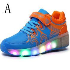 Zapatillas Con Ruedas y Luces Azules Niños