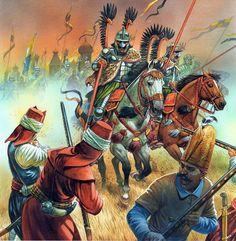 Otra de húsares alados desbaratando el asedio de Viena, por cortesía de Peter Dennis.