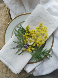 Primesautier momosa (Ever cheerful mimosa) Shabby Home, Shabby Chic Homes, Cottage Living, Cottage Chic, Dining Etiquette, Provence Style, Yellow Springs, Dining Room Inspiration, Table Flowers