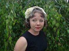 Vintage Style Hat Off White Dupioni Silk Veil by AugustMillinery. $240.95, via Etsy.