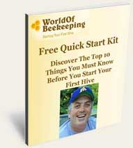Starting your first hive -free quick start beekeeping kit from World of Beekeeping. -CAB