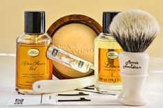 """The Art of Shaving lemon shave soap, aftershave gelo and cologne, Morris and Forndran badger brush, Schulze 6/8"""" """"Sunday"""" straight razor, September 11, 2016.  ©Sarimento1"""