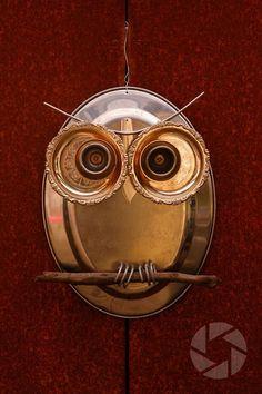 kitchen owls   Kitchen Owl #156 Glass Garden Art, Metal Garden Art, Glass Art, Garden Owl, Found Object Art, Owl Crafts, Scrap Metal Art, Junk Art, Assemblage Art