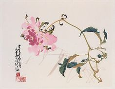 Flower and Bee. After Zhao Shao'ang (Chinese, 1905-1998)