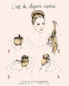 Rubi Jones X Samantha Hahn illustrative hair how-to's: lart du chignon express