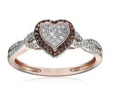 Heart Ring 1/5ct Diamond Rose Gold Cognac and White gold Anniversary Gift Ring Beautiful Rose Gold Diamond heart ring with cognac diamondsPave set diamonds 8.5mm Wide Ring Woven Sides pattern perfect...