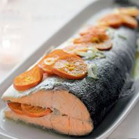 Festive Whole Salmon with Clementines