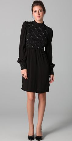 RED Valentino Long Sleeve Dress with Argyle Sequins