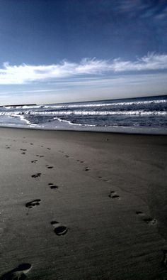 Footprints. A morning walk on the California beach with my husband of 16 years. Camp Pendleton, CA.