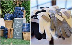 mantas y guantes para que los invitados tienen frio
