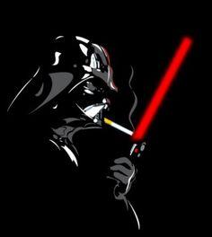 Vader lighting his cigarette!