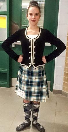 Leah in her Bonnie Shadow Tartan. Tartan Kilt, Tartan Dress, Drum Major, The Bonnie, Plaid Skirts, Dance Wear, Dancing, Rompers, Velvet
