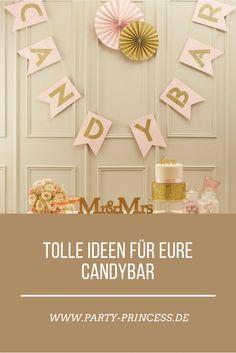 Wunderschöne Ideen und Dekorationen für Eure die Candybar auf Eurer Hochzeit, Geburtstagsfeier, Party oder Babyshower findet Ihr bei uns.