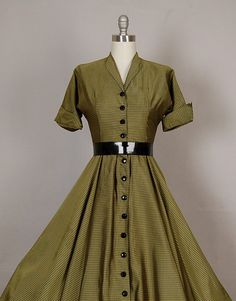 vintage 1950s dress 50s dress full skirt por NodtoModvintage