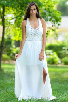 Effortlessly beautiful... this white maxi is absolutely gorgeous.