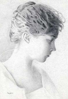 """Portrait of Lillian Gish"" Robert C. Tracy Pencil on vellum 9 x 6"" 2001"