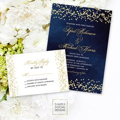 Items similar to Navy Wedding Invitation Suite - Faux Gold Glitter Confetti and Navy Wedding Invitation Reply Card Invitation Printable on Etsy Gala Invitation, Navy Wedding Invitations, Invitation Card Design, Wedding Stationery, Trendy Wedding, Wedding Ideas, Wedding Planning, Dream Wedding, Diy