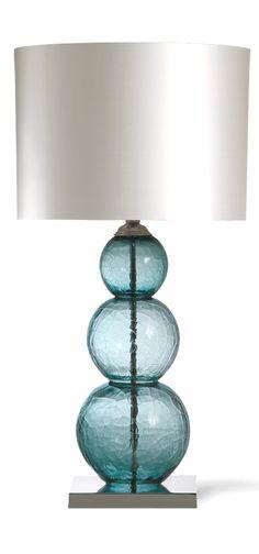 Table Lamps, Designer Crackled Blue Art Glass Table Lamp, so elegant, one of…