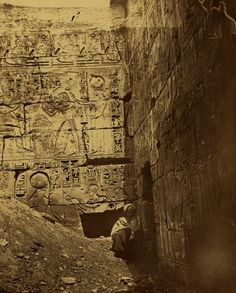 Bas-relief on section of Khonsu Temple in Karnak (Thebes), second courtyard of the temple of Ramesses III, c.1867.