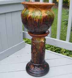 McCoy jardineres planters   ... VINTAGE MAJOLICA BROWN GREEN ROSEVILLE JARDINIERE PEDESTAL PLANT STAND