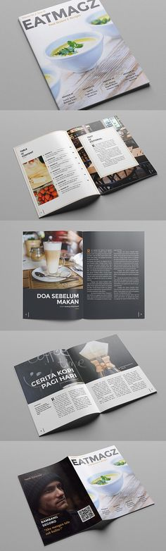 #magazine #design from atsar   DOWNLOAD: https://creativemarket.com/atsar/323446-Eat-Magz-Magazine-Template?u=zsoltczigler