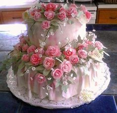 # PINK ROSE CAKE TOO PRETTY TO CUT