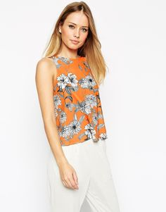 Image 1 of ASOS High Neck Swing Top in Floral Crepe