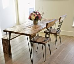 Solid Maple Hairpin Dinning Table With Chairs by TheWhiteShanty