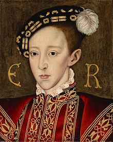 Edward VI, the boy King of England   and Ireland from 28 January 1547 until his death. He was crowned at the age of nine. The son of Henry VIII and Jane Seymour, Edward was the third Tudor Monarch. In February 1553, at age 15, Edward fell ill.  Edward died at the age of 15 at Greenwich Palace on 6 July 1553.