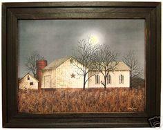 Primitive Farmhouse Barnstar Print Barn in Moonlight