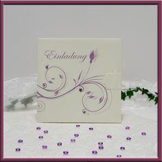 Einladungskarte Hochzeit 006 elfenbein flieder lila