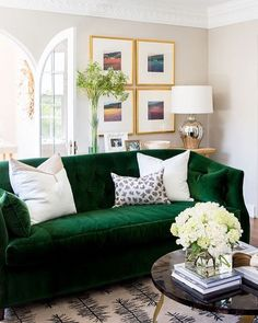 Ornate moldings? Arched doorways? An emerald green velvet oasis? Yes, yes, yes to all of the above!  Shop this space via link in bio (or see the full renovation on our blog)!