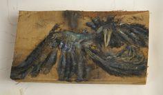 Kraaienportret, Kraai heel erg dood olieverf op houtblok, 28 x 20