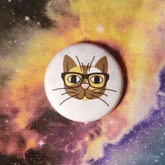 Nerd Cat Pinback Button or Magnet by jaxxisbuttons on Etsy