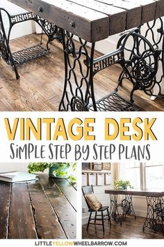 If you are interested in having a vintage style desk without buying one at antique prices, why not make one. This rustic industrial desk was made from two vintage sewing machine treadle bases.  Take a look at this tutorial for an easy woodworking project. Once you find the perfect bases you can craft a beautiful vintage desk using our step by step plans. This desk is perfect for a farmhouse style home office . #diy #farmhouse #rustic #tutorial #office #woodworking