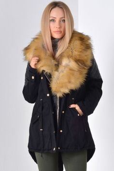 Bella Fur Hood Jacket in Black Winter Warmers, Hooded Jacket, Fur Coat, Jackets, Collection, Black, Fashion, Hooded Bomber Jacket, Down Jackets