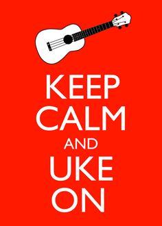 Keep Calm and Uke On 5x7 Ukulele Wall Art