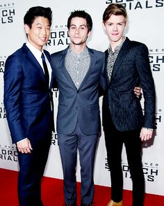 Ki Hong Lee, Dylan O´Brien and Thomas Brodie Sangster at the Maze Runner: Scorch Trials premiere in NYC. (September 15, 2015)