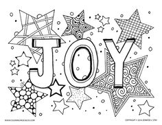 Joy coloring page for adults and grown ups. Holiday printable coloring pages for decorating and stress relief. Over 100 coloring pages available at Coloring Pages Bliss