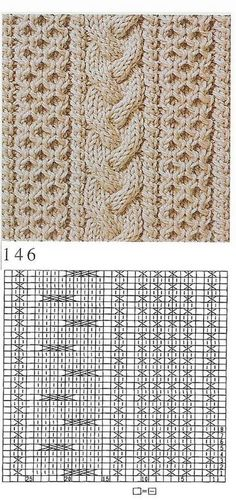 Beautiful knitting stitch pattern cable and texture aran Cable Knitting Patterns, Knitting Stiches, Crochet Stitches Patterns, Knitting Charts, Lace Knitting, Knitting Designs, Stitch Patterns, Knit Stitches, Side Panels