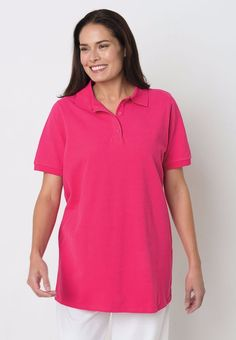 939e2532e77 Woman Within Short sleeve pique knit polo shirt - pink - plus size 1X (22