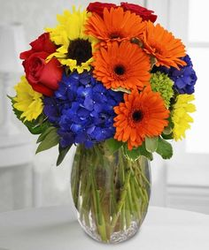 Cheerful Wishes - bright blue, red, yellow and orange