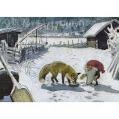 Postcard Tomte tummetot and the fox  (Harald Wiberg)