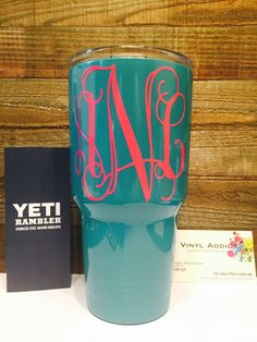 http://www.cadecga.com/category/Yeti-Rambler/ Powder coated Monogrammed Yeti Rambler by VinylAddict2015 on Etsy www.etsy.com/…