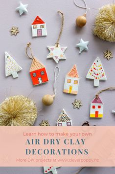 Try these Easy DIY Clay Decorations! Clay Christmas Decorations, Christmas Crafts For Kids, Homemade Christmas, Christmas Projects, Christmas Art, Handmade Decorations, Holiday Crafts, Christmas Holidays, Christmas Ornaments